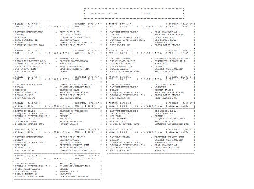 Calendario Terza Categoria.Calendario Gare Terza Categoria Girone B Castrum Monterotondo